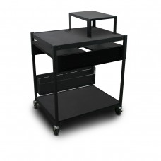 Adjustable Cart with 2 Pull-Out Side-Shelves, Bin, Expansion Shelf, and Electrical