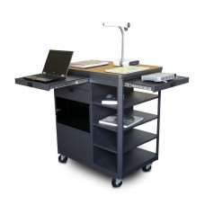 Vizion Presenter Multimedia Cart with Acrylic Doors, Four Side Shelves,  - (Oak Laminate)