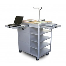 Vizion Presenter Multimedia Cart with Steel Doors, Four Side Shelves, - (Kensington Maple Laminate)