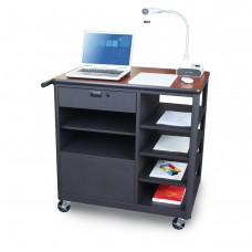 Marvel Vizion Presenter Mobile Presentation Cart with Four Side Shelves - (Cherry Laminate)