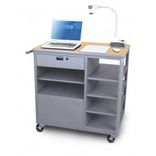 Marvel Vizion Presenter Mobile Presentation Cart with Four Side Shelves - (Kensington Maple Laminate)
