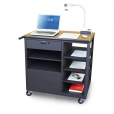 Marvel Vizion Presenter Mobile Presentation Cart with Four Side Shelves- (Oak Laminate)