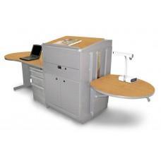 Teacher's Desk with Media Center, Steel Doors - Dark Neutral Finish/Oak Laminate