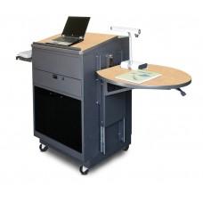 Media Center Cart with Lectern and Acrylic Doors - Dark Neutral Finish/Kensington Maple Laminate