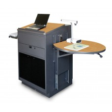 Media Center Lectern (Stationary) with Acrylic Doors - Dark Neutral Finish/Oak Laminate