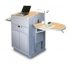 Media Center Lectern (Stationary) with Steel Doors - Silver Finish/Kensington Maple Laminate