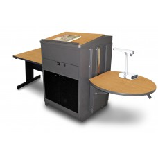 Rectangular Table with Media Center and Lectern, Adjustable Height Platform, Acrylic Doors  - (Oak Laminate)