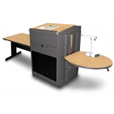 Rectangular Table with Media Center and Lectern, Adjustable Height Platform, Acrylic Doors - (Kensington Maple Laminate)