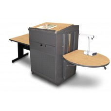 Rectangular Table with Media Center and Lectern, Adjustable Height Platform, Steel Doors - (Kensington Maple Laminate)