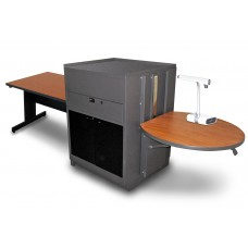 Rectangular Table with Media Center, Adjustable Height Platform, Acrylic Doors - (Cherry Laminate)