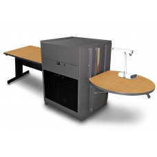 Rectangular Table with Media Center, Adjustable Height Platform, Acrylic Doors - (Oak Laminate)