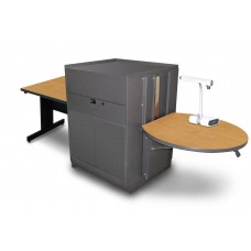 Rectangular Table with Media Center, Adjustable Height Platform, Steel Doors - (Oak Laminate)
