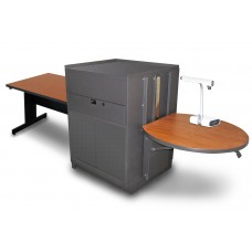Rectangular Table with Media Center, Adjustable Height Platform, Steel Doors - (Cherry Laminate)