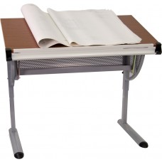 Adjustable Drawing and Drafting Table with Pewter Frame [NAN-JN-2433-GG]