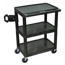 Luxor Black 3 Shelf Heavy Duty A/V Cart