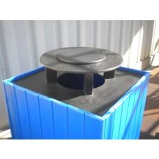 55 Gallon Square Rain Bonnet - Black