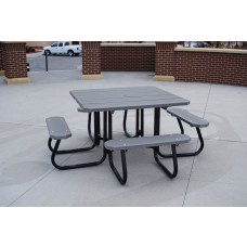 Square Picnic Table - Gray - 4 Foot