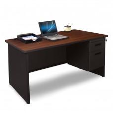 Pronto Single Pedestal Desk, 48W x 30D - Mahogany Laminate and Black Finish