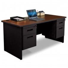 Pronto Double Pedestal Desk, 60W x 30D - Mahogany Laminate and Black Finish