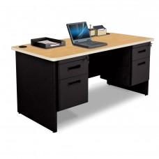 Pronto Double Pedestal Desk, 60W x 30D - Oak Laminate and Black Finish