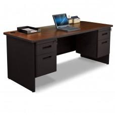 Pronto Double Pedestal Desk, 72W x 30D - Mahogany Laminate and Black Finish
