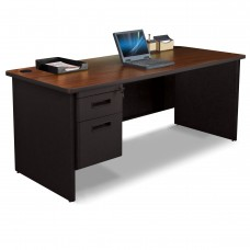 Pronto Single Pedestal Desk, 72W x 30D - Mahogany Laminate and Black Finish