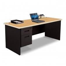 Pronto Single Pedestal Desk, 72W x 30D - Oak Laminate and Black Finish