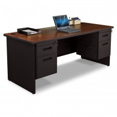 Pronto Double Pedestal Desk, 72W x 36D - Mahogany Laminate and Black Finish