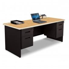 Pronto Double Pedestal Desk, 72W x 36D - Oak Laminate and Black Finish