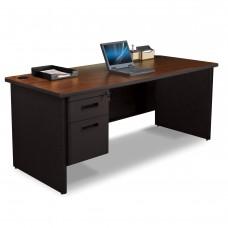 Pronto Single Pedestal Desk, 72W x 36D - Mahogany Laminate and Black Finish