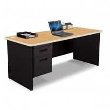 Pronto Single Pedestal Desk, 72W x 36D - Oak Laminate and Black Finish