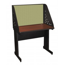 Pronto School Training Table with Carrel and Modesty Panel Back, 36W x 30D - Dark Neutral Finish and Peridot Fabric