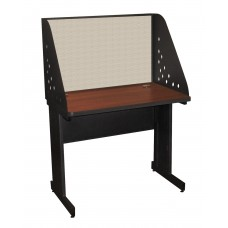 Pronto School Training Table with Carrel and Modesty Panel Back, 36W x 30D - Dark Neutral Finish and Chalk Fabric