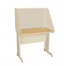 Pronto School Training Table with Carrel and Modesty Panel Back, 36W x 30D - Putty  Finish and Chalk Fabric
