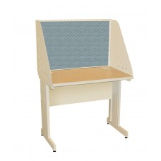 Pronto School Training Table with Carrel and Modesty Panel Back, 36W x 30D - Putty Finish and Slate Fabric