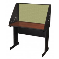 Pronto School Training Table with Carrel and Modesty Panel Back, 42W x 24D - Dark Neutral Finish and Peridot Fabric