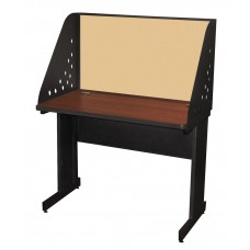 Pronto School Training Table with Carrel and Modesty Panel Back, 42W x 24D - Dark Neutral Finish and Beryl Fabric