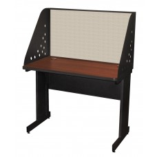 Pronto School Training Table with Carrel and Modesty Panel Back, 42W x 24D - Dark Neutral Finish and Chalk Fabric