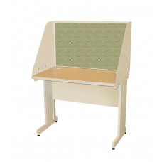 Pronto School Training Table with Carrel and Modesty Panel Back, 42W x 24D - Putty  Finish and Peridot Fabric
