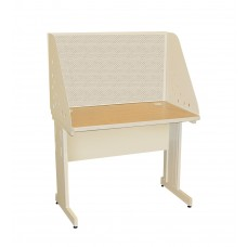 Pronto School Training Table with Carrel and Modesty Panel Back, 42W x 30D - Putty  Finish and Chalk Fabric
