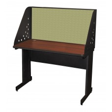Pronto School Training Table with Carrel and Modesty Panel Back, 48W x 24D - Dark Neutral Finish and Peridot Fabric