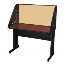 Pronto School Training Table with Carrel and Modesty Panel Back, 48W x 24D - Dark Neutral Finish and Beryl Fabric
