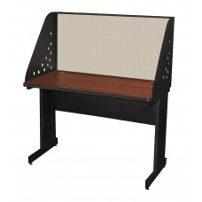 Pronto School Training Table with Carrel and Modesty Panel Back, 48W x 24D - Dark Neutral Finish and Chalk Fabric