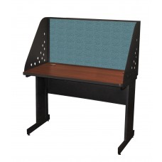 Pronto School Training Table with Carrel and Modesty Panel Back, 48W x 24D - Dark Neutral Finish and Slate Fabric