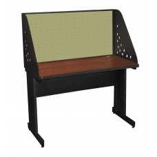 Pronto School Training Table with Carrel and Modesty Panel Back, 48W x 30D - Dark Neutral Finish and Peridot Fabric