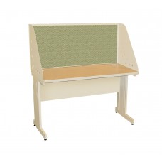 Pronto School Training Table with Carrel and Modesty Panel Back, 48W x 30D - Putty  Finish and Peridot Fabric