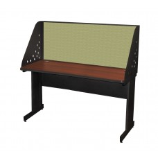 Pronto School Training Table with Carrel and Modesty Panel Back, 60W x 24D - Dark Neutral Finish and Peridot Fabric