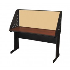Pronto School Training Table with Carrel and Modesty Panel Back, 60W x 24D - Dark Neutral Finish and Beryl Fabric