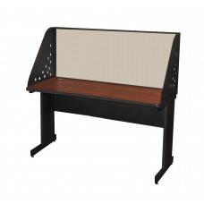 Pronto School Training Table with Carrel and Modesty Panel Back, 60W x 24D - Dark Neutral Finish and Chalk Fabric