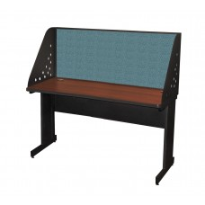 Pronto School Training Table with Carrel and Modesty Panel Back, 60W x 24D - Dark Neutral Finish and Slate Fabric